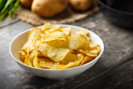 crisps: Hearty kettle cooked potato crisps served in a bowl.