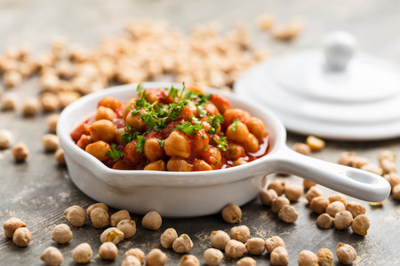 Indian curry with chickpeas and tomato sauce.