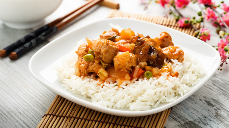 chunks: rice with sweet and sour vegetables and soy chunks