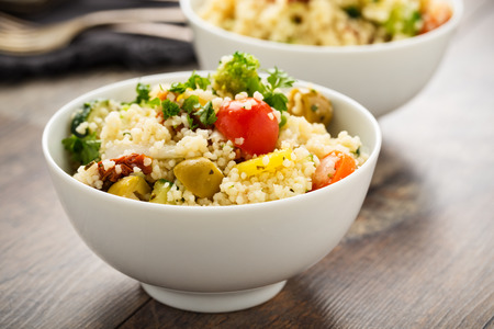 sund: Frewsh cous cous with grilled vegetables and sun dried tomatoes.