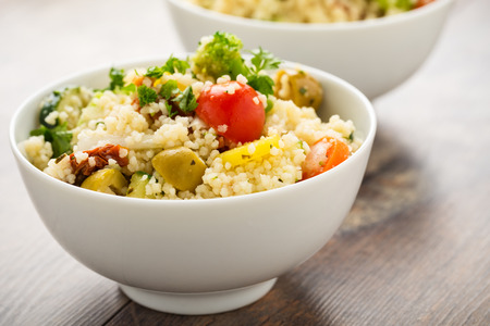 sund: Fresh cous cous with grilled vegetables and sun dried tomatoes.
