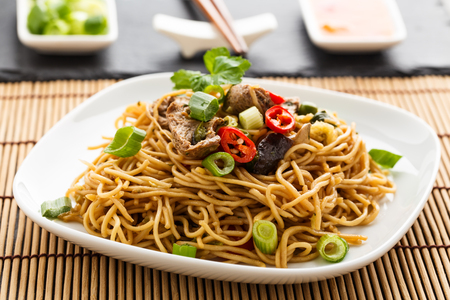 beansprouts: Lo mein with vegetables, mushrooms and soy filets.