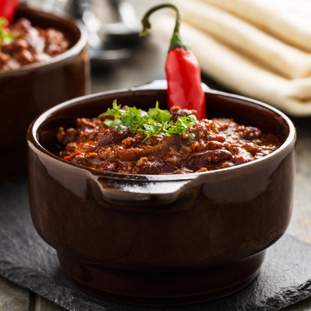 Chili sin carne - stew with beans,  soy meat and chili peppers