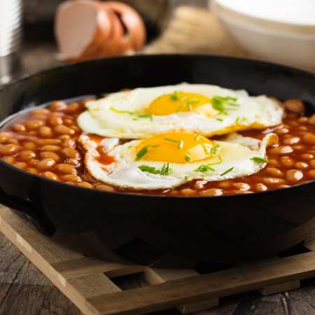 Baked beans with two fried eggs served in a pan.