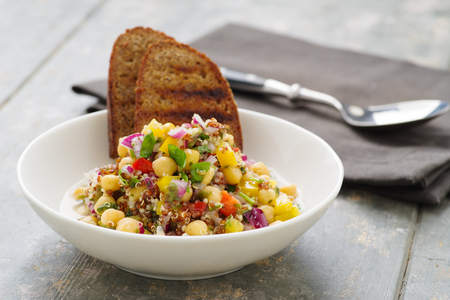 Vegan quinoa salad with chickpeas Stock Photo