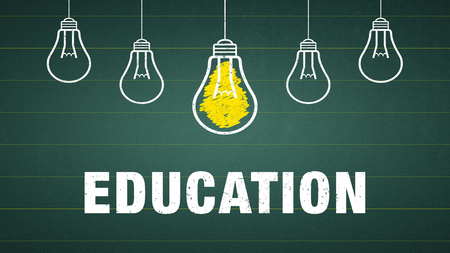 Banner Education - text and lightbulbs on a chalkboard Standard-Bild - 111759635