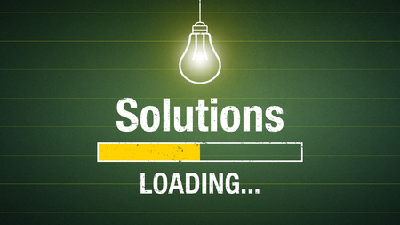 Banner solutions loading - glowing lightbulb on a chalkboard Standard-Bild - 111759640