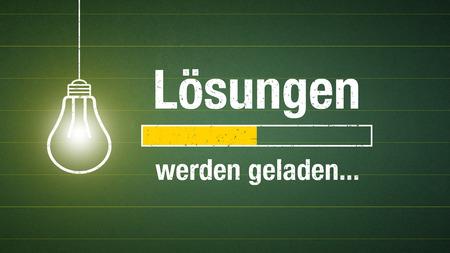 Banner solutions loading - german phrase: Lösungen werden geladen Standard-Bild - 105515963