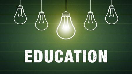 Banner Education - text and light bulbs on a chalkboard Standard-Bild - 111759655