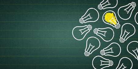 light bulbs at a chalkboard Standard-Bild - 111759656