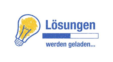 Banner solutions loading - german phrase: Lösungen werden geladen 免版税图像