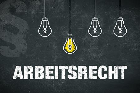 "Banner ""Arbeitsrecht"" in german language. Translation: labor law. Standard-Bild - 111759679"