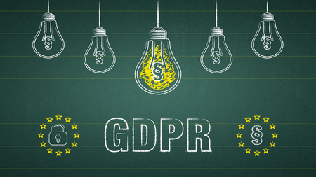 General Data Protection Regulation, GDPR. Light bulbs on a chalkboard Standard-Bild - 111759680