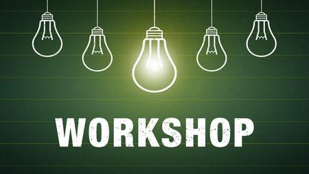 Banner Workshop - text and light bulbs on a chalkboard Standard-Bild - 111759681