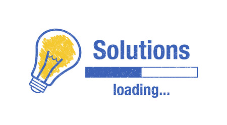 "Text ""solutions loading"", light bulb and loading screen on white background. Standard-Bild - 111759682"