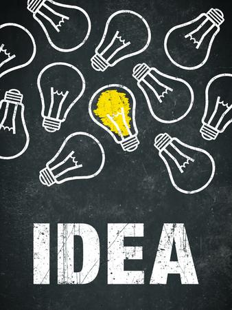 Banner idea - light bulbs and text on a chalkboard Standard-Bild - 111759686
