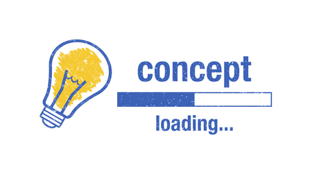 Text concept loading, light bulb and loading screen on white background. Standard-Bild - 111759687