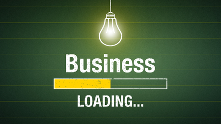 Banner business loading - glowing light bulb on a chalkboard Standard-Bild - 111759694