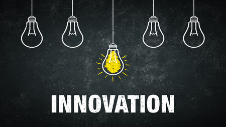 Banner Innovation - light bulbs at a rustic background