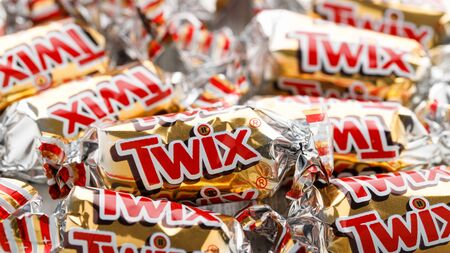 Lappersdorf, Bavaria / Germany - January 8, 2020: Mars Inc. Twix Miniatures - close up of small twix chocolate bars Editorial