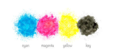 CMYK - Watercolor splashes in cyan, magenta, yellow and black.