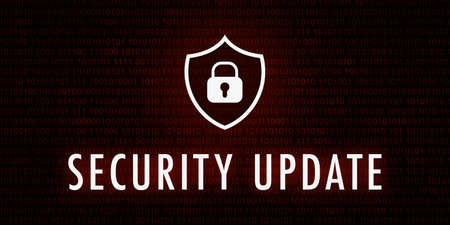 Banner Security Update - Shield icon on background with binary code. Standard-Bild