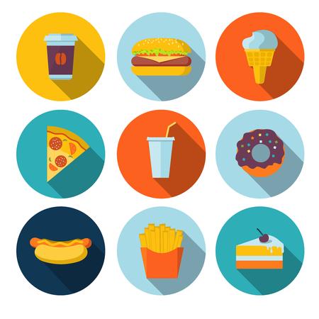 rebanada de pastel: Conjunto de iconos planos de comida rápida Vectores