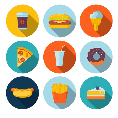pizza: Set of fastfood flat icons