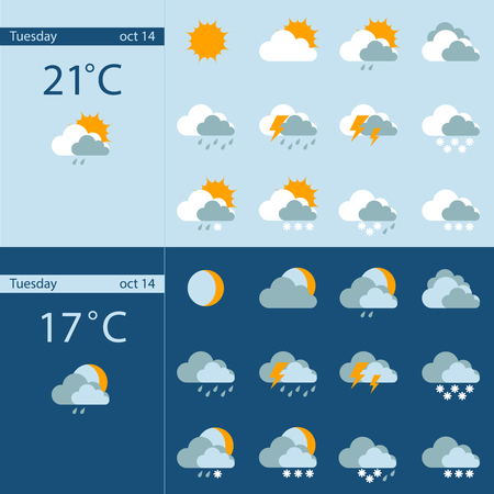 day forecast: Day and night weather forecast flat color icons. Vector illustration.