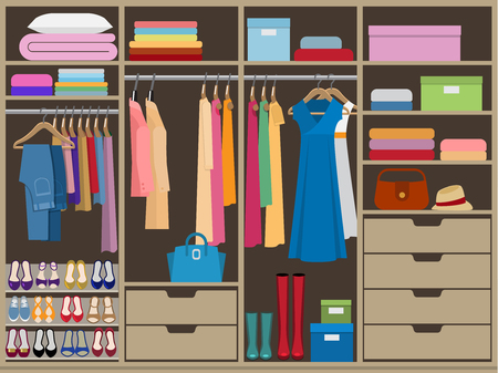 Wardrobe room full of woman's cloths. Flat style vector illustration.