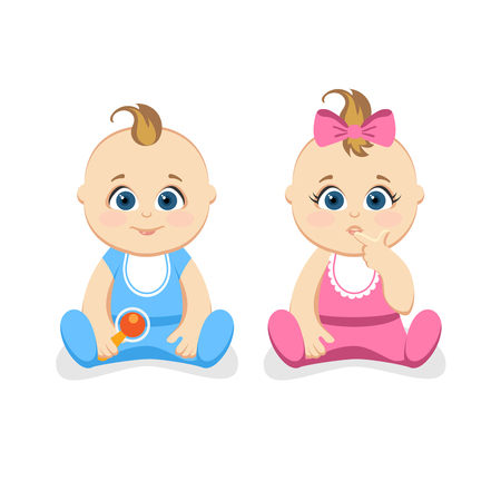 pacifier: Cute little baby boy and baby girl are sitting.