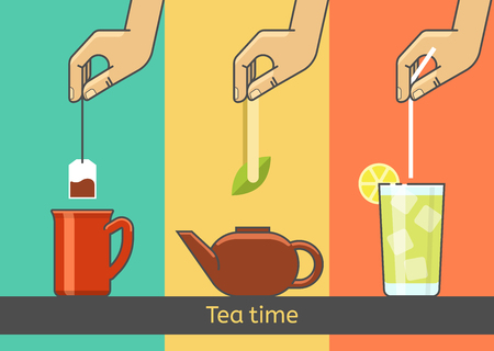 ice tea: Tea tradition vector concept illustration. The hand preparing tea from tea bags, green tea, ice tea.