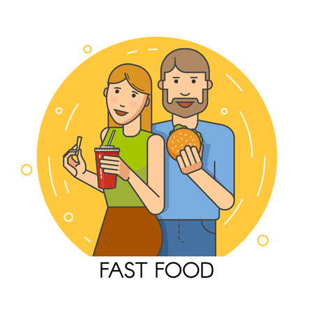 couple having fun: Young people smiling hold fast food in hand Illustration