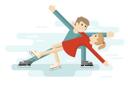 Pair figure figure skating on a skating rink. Ice skating people.