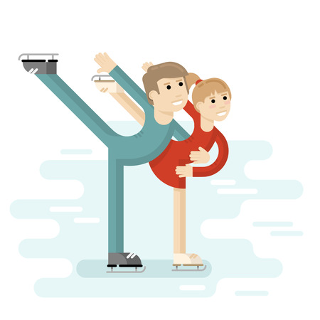 skating rink: Ice skating pair of young people figure skating on a skating rink. Pair ice dance. Vector illustration. Illustration