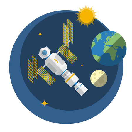 space station: View of space station, sun, Earth and Moon. Technology icon design