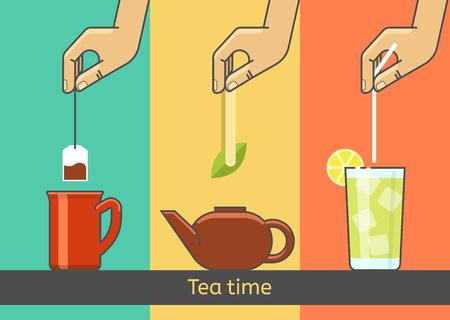 ice tea: The hand preparing tea from tea bags, green tea, ice tea. Illustration