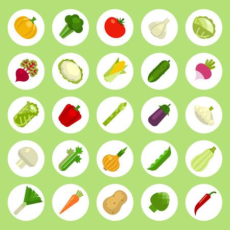 garlic bread: Vegetables Icons set on flat style. Vector Illustration