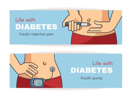 Vector outline flat diabetes banners. Life whith diabetes