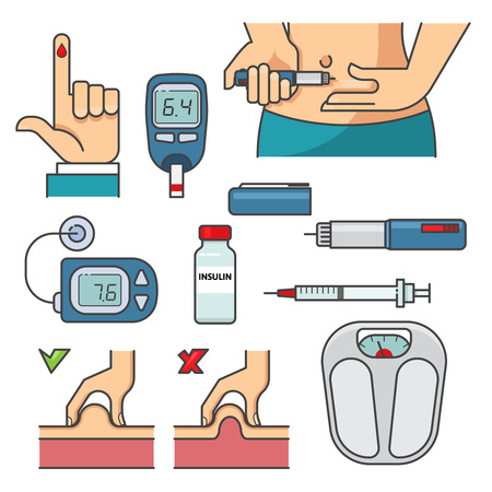 Diabetes therapy infographic elements. Health care concept