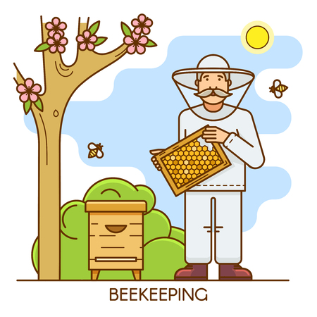 Beekeeper at special costume. Apiary farm man is dressed in a protective suit and holds honeycomb of honey in his hands. Outline flat consept ilustration. Illustration