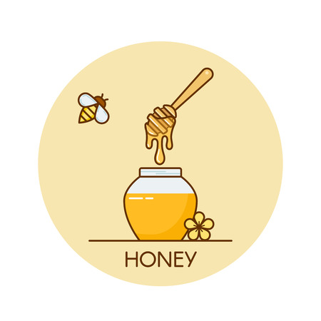 Vector illustration of jar with honey and wooden dipper. Outline flat designer consept banner