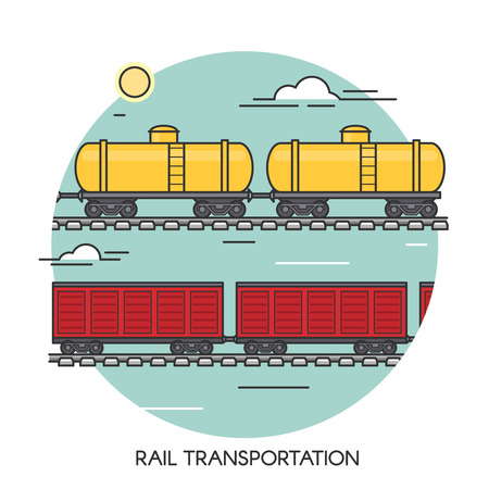 Freight wagons flat outline concept. Cargo train global transport logistics. Transportation by railway.