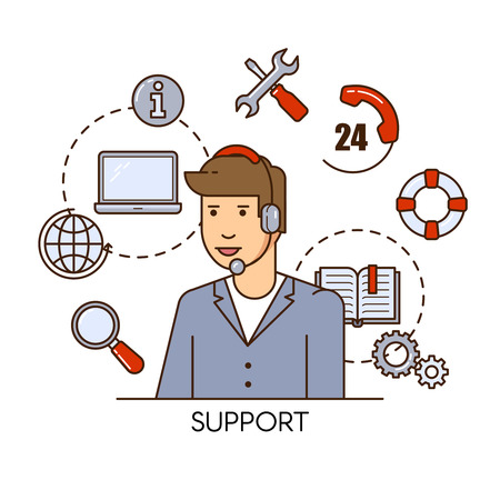 Global technical support vector concept design with man support operator. Outline flat illustration. Troubleshooting and maintenance department in business and industry Illustration