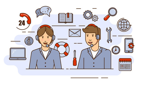 Global technical support vector concept design with specialist ready to solve any problem. Outline flat illustration. Troubleshooting and maintenance department in business and industry