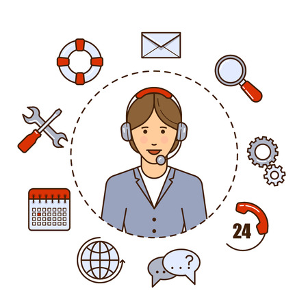 Global technical support vector concept design with woman support operator. Outline flat illustration. Troubleshooting and maintenance department in business and industry