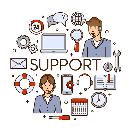 Global technical support vector concept design with customer assistance phone assistant service or call center specialist. Online tech support illustration. Illustration