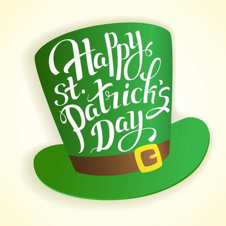 Happy St. Patricks Day lettering with hat cylinder.