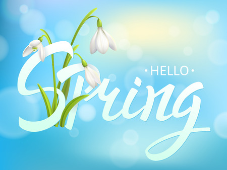 Inscription Spring Time on background with Lettering and snowdrop. Vector Illustration EPS10