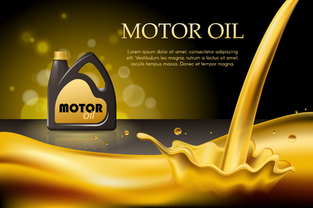 Engine or motor oil on the light golden bokeh background with containers, 3d illustration